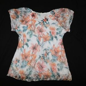 Brittany Black Lacey XL Floral Stretchy Top Lolita